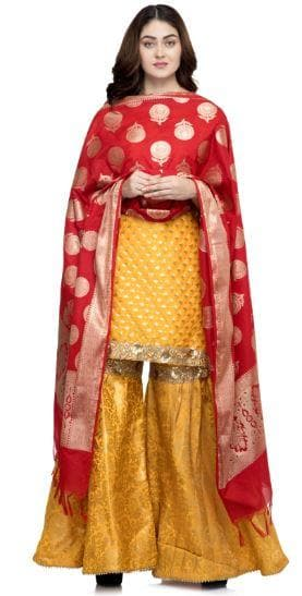 A R Silk Women's Katan Soft Silk Zari Embroidery Red Fancy Dupatta