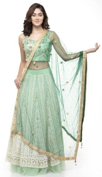 A R Silk Women's Net Net Chandna Handwork With Moti Laish Bottle Green Fancy Dupatta
