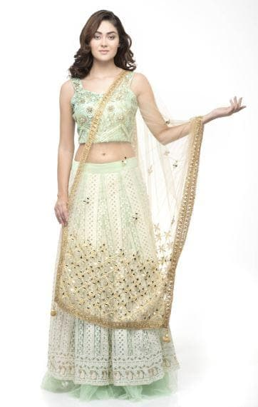 A R Silk Women's Net Original Shisha Emb. Golden Fancy Dupatta