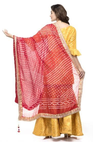 A R Silk Women's Silk Gota Work Red Fancy Dupatta