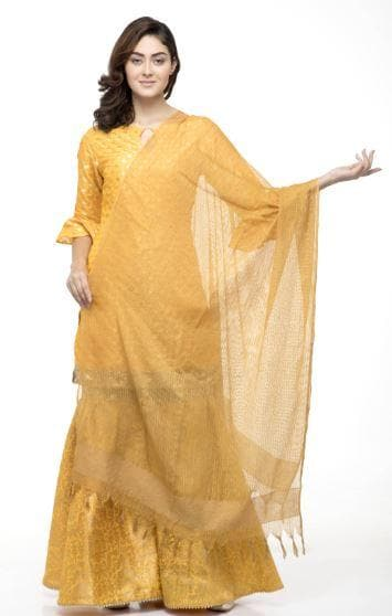 A R Silk Women's Kota Cotton Self Design Musturd Regular Dupatta