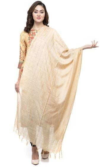 A R Silk Women's Cotton Self Design Golden Regular Dupatta