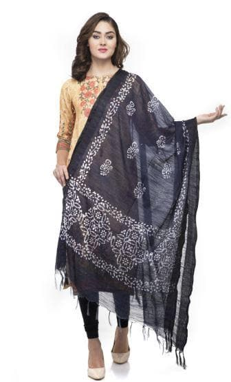 A R Silk Women's Cotton Batik Print Navy Blue Regular Dupatta