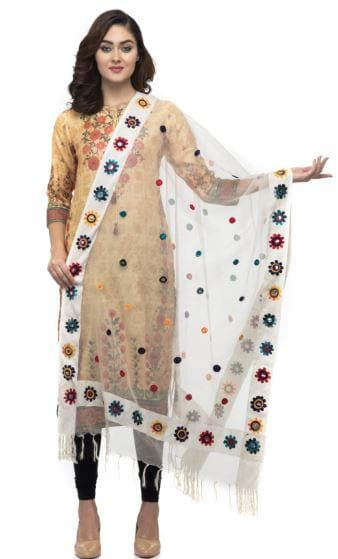 A R Silk Women's Orgenza Cotton Thread Work Cream Fancy Dupatta