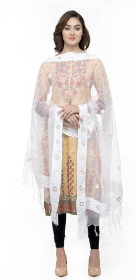 A R Silk Women's Orgenza Cotton Gota Work White Fancy Dupatta