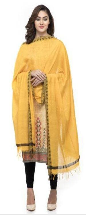 A R Silk Women's Cotton Self Design Yellow Regular Dupatta