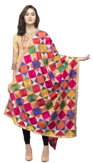 A R Silk Women's Silk Multi Emb. Multi Fancy Dupatta