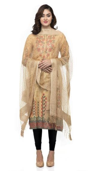 A R Silk Women's Orgenza Cotton Gold Print Golden Regular Dupatta