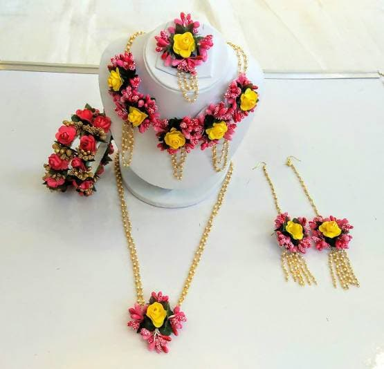 Multicolor Artificial Flower Jewelry Set for Haldi
