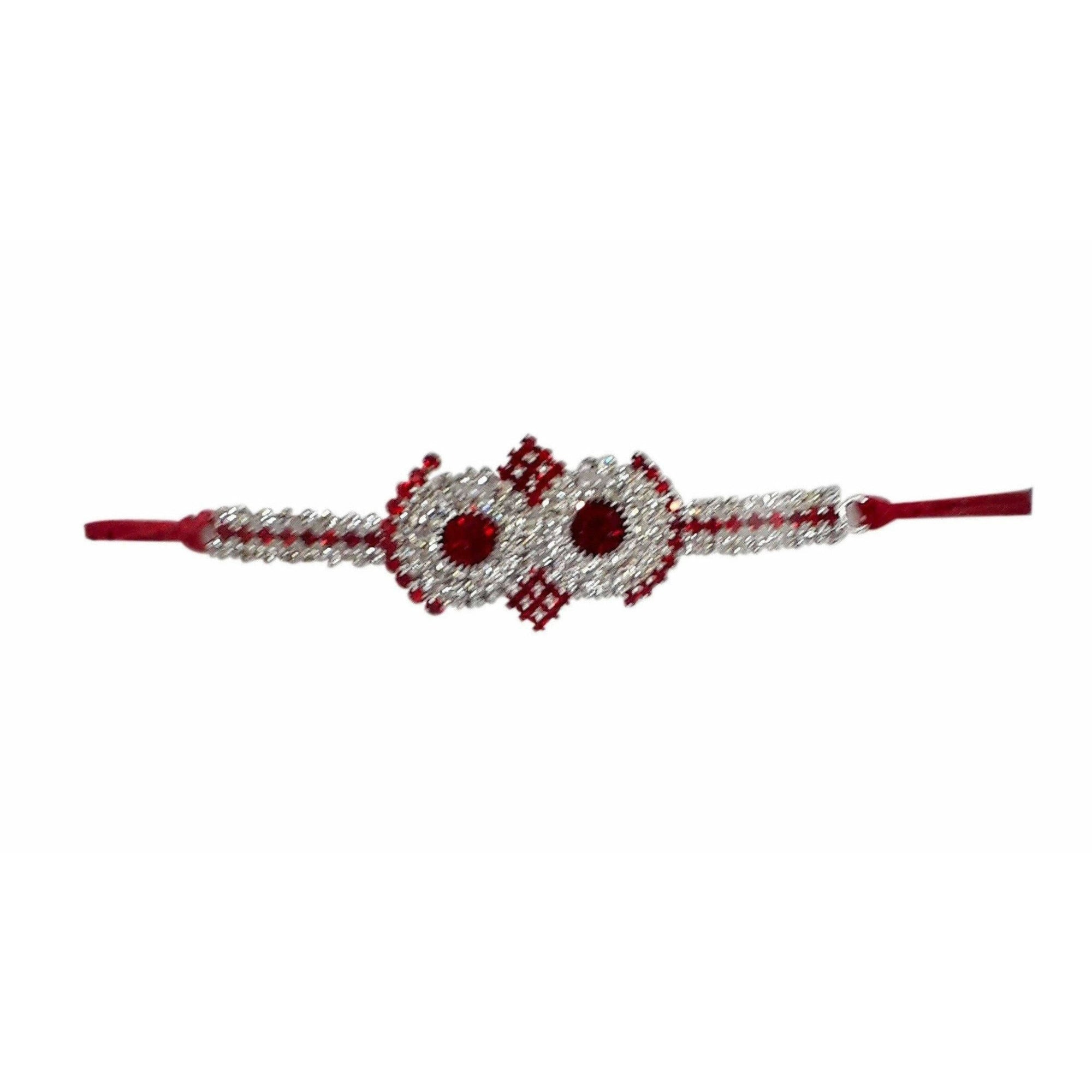Red Kundan with White Stones Rakhi