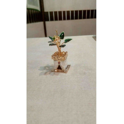 Silver and Gold Coated Decorative Tulsi Item with Green Leaf -Small Size / Tulsi Kota - Small Size
