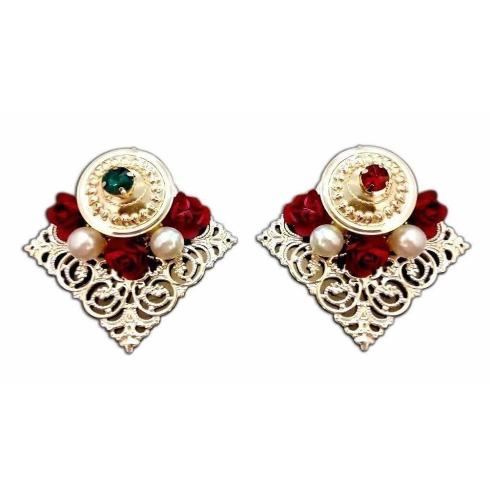 Fancy Kumkum Holders with Kundans and Roses - 1 piece