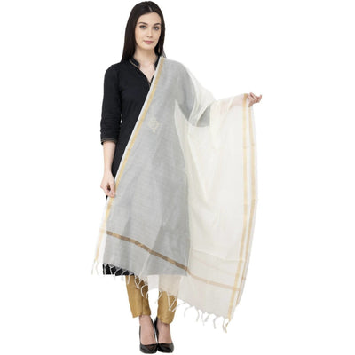 A R SILK Chanderi Piping Regular Dupatta off White Color Dupatta or Chunni