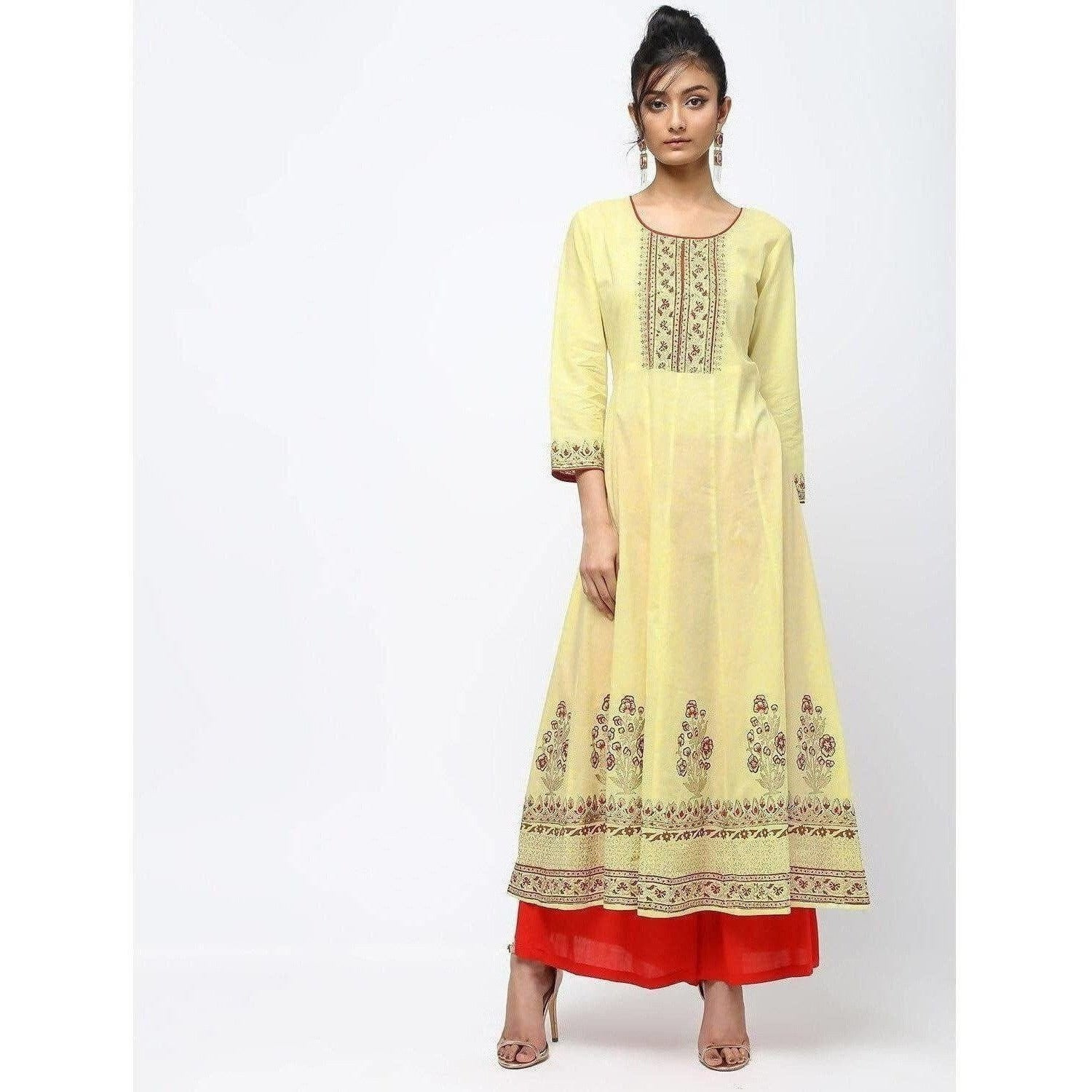 Cheera Lemon Yellow Kalidar Anarkali Foil Print Kurta