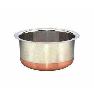 Stainless Steel Patila Round Copper Bottom Container Ganj Tapeli with Lid