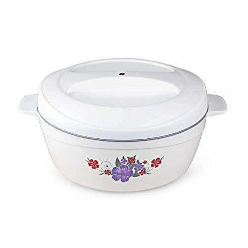 Roti Plus Plastic Casserole with Lid - White & Grey Color Combination