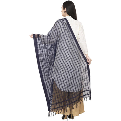 A R SILK Cotton Square Regular Dupatta Dark Gray Color Dupatta or Chunni