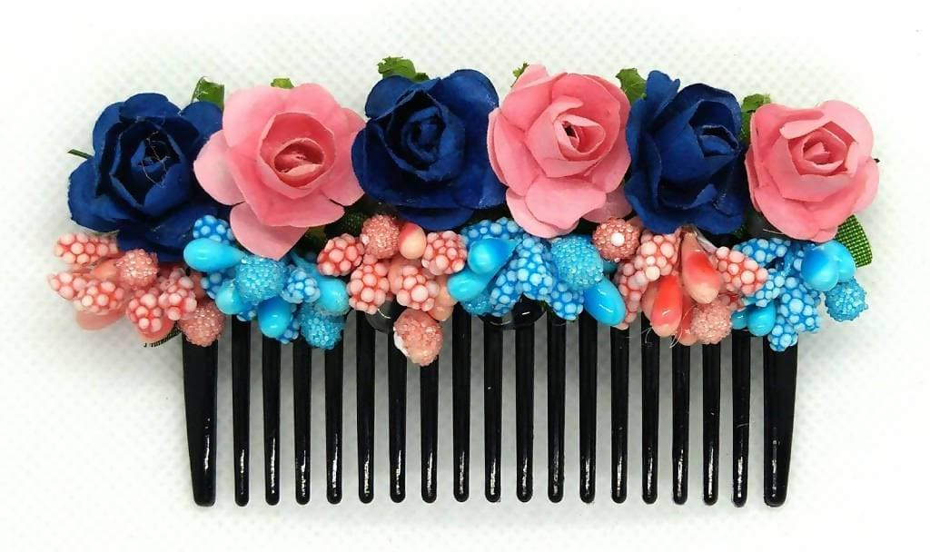 Blue & peach Flower Hair Comb