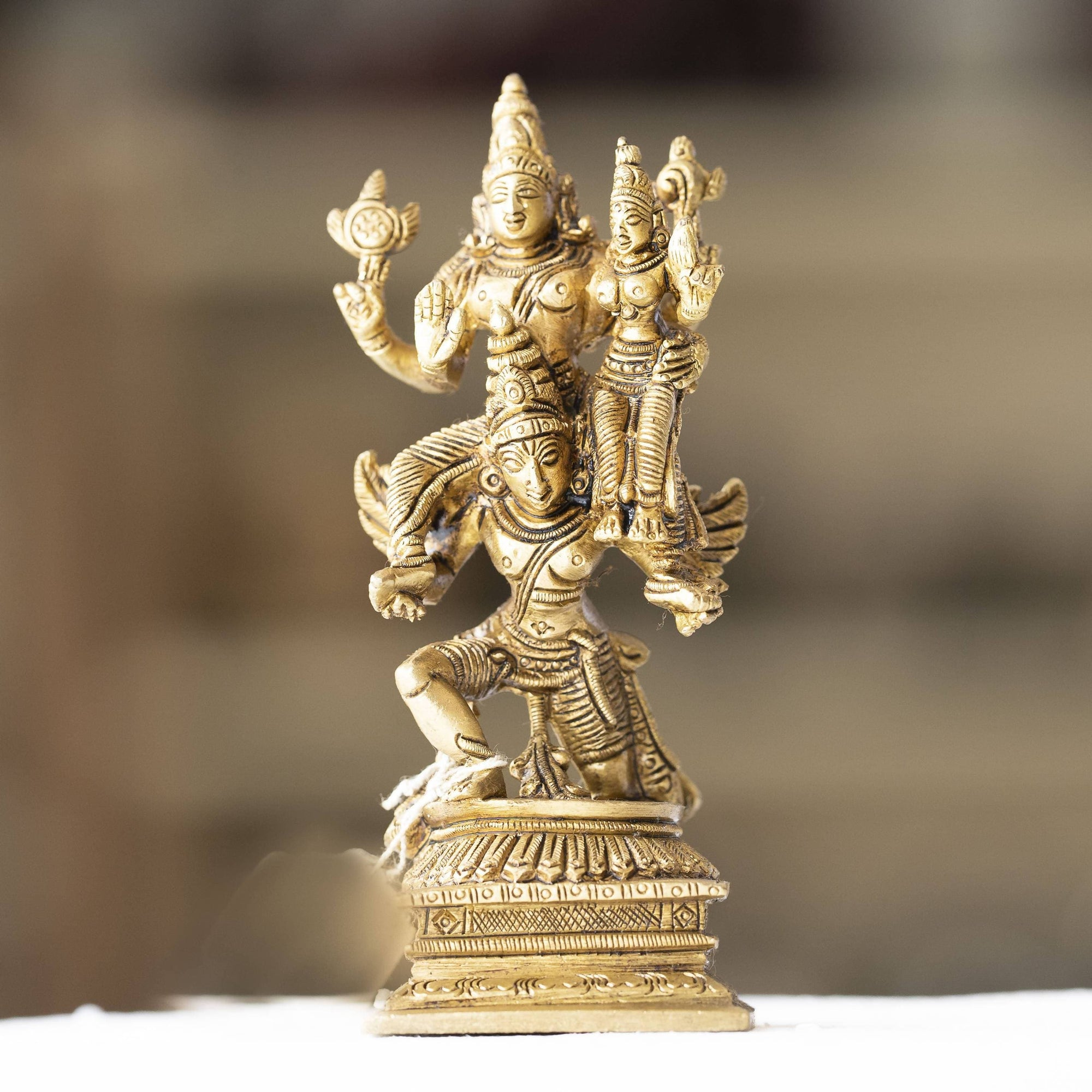 Myoksha Lord Vishnu and Goddess Lakshmi On Garuda Vahana Brass Idol