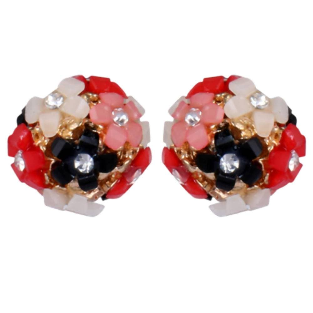 Trendoo Jewelry Gold Plated Stylish Fancy Party Wear Multi Color Studs