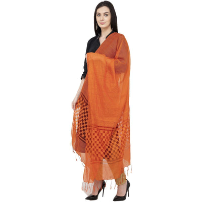 A R Silk Buta Cutting Regular Dupatta Color Orange Dupatta or Chunni