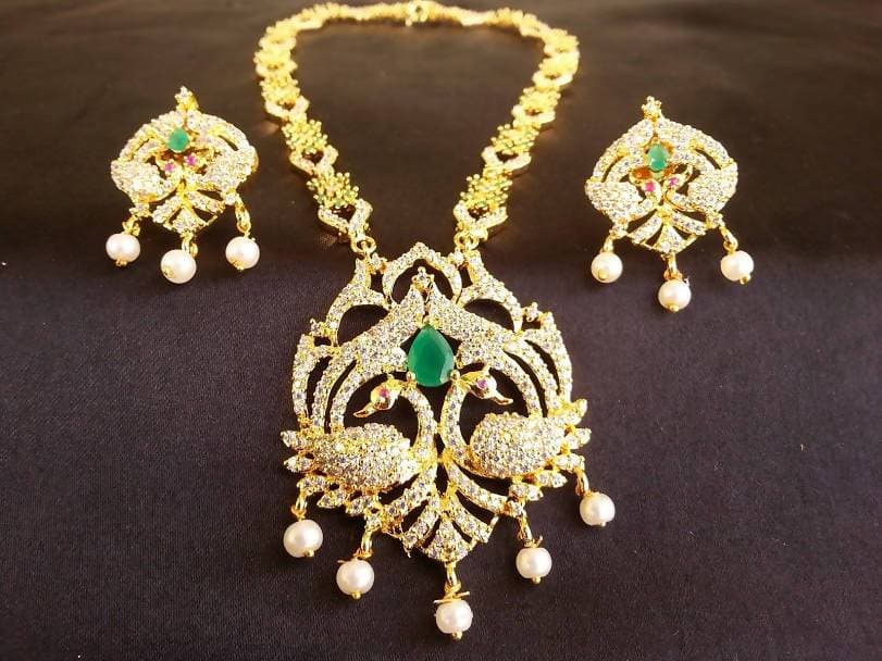 AD Emeralds Peacock Necklace Set