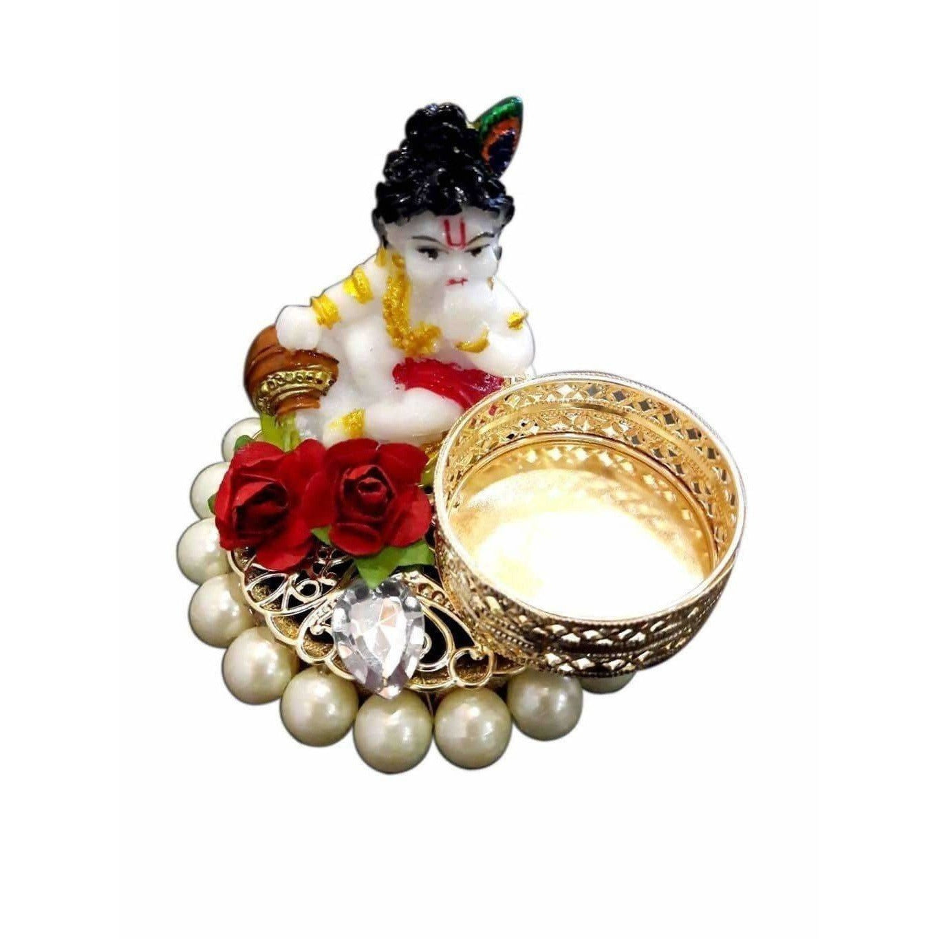 Little Krishna Candle with White Beads Kumkum Holder - Dista Cart