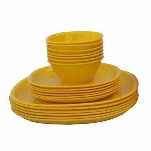 Plastic Square Plate and Bowl Set, 18-Pieces, Yellow