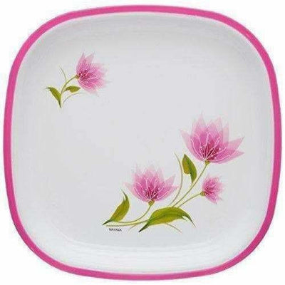 Pink Color Square Quarter Plate Set - 6 Plates Set