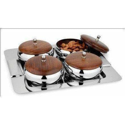 Stainless Steel Serving Set with Wooden Lid and Tray - 4 Pieces