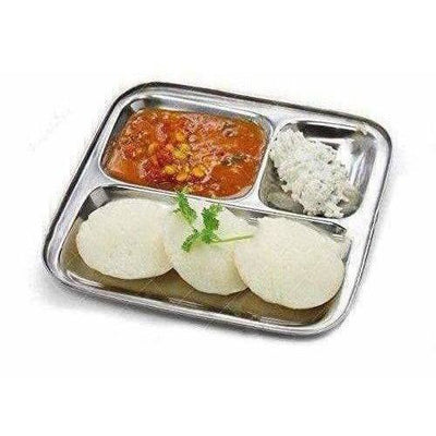 Stainless Steel 3 in 1 Plate with 3 Compartment - Set of 4