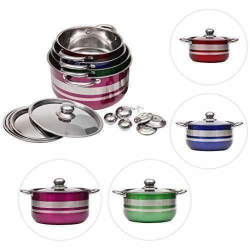 Kitchen Cooking Stainless Steel Gas Induction Cookware Set with Lid 4 Pieces