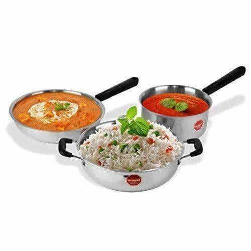 Stainless Steel Induction Cookware Sauce Pan +Kadhai + Fry Pan - Set of 3