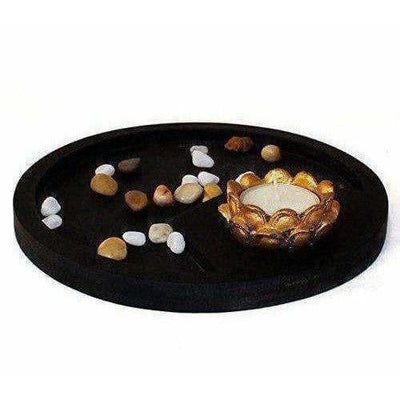 Multi - Color Handmade Buddha Showpiece and Stones On Wooden Tray