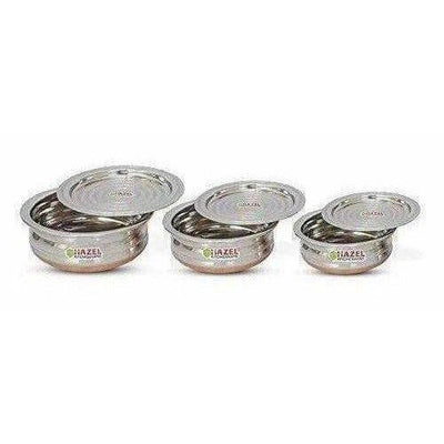 Copper Bottom Kadai Urli with Lid - 3 Pcs Set
