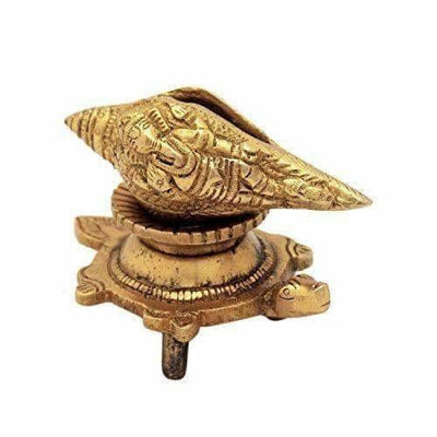 Brass Vishnu Shankh Conch Shell For Puja With Vastu/ Fengshui Tortoise For Home Decor