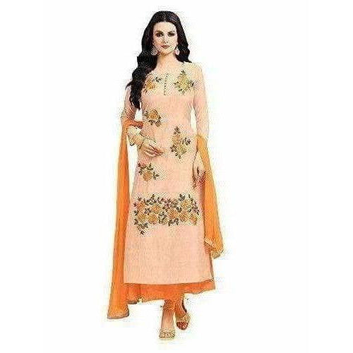 Chanderi Silk Unstitched Peach Color Dress Material