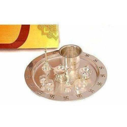 Silver Plated OM Pooja Thali 1 Set 8 Pcs