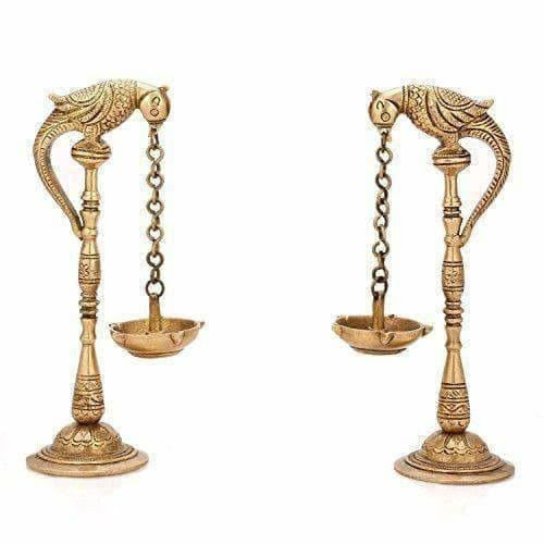 Brass - Pair Of Bird Diya Oil Lamp Stand - Distacart