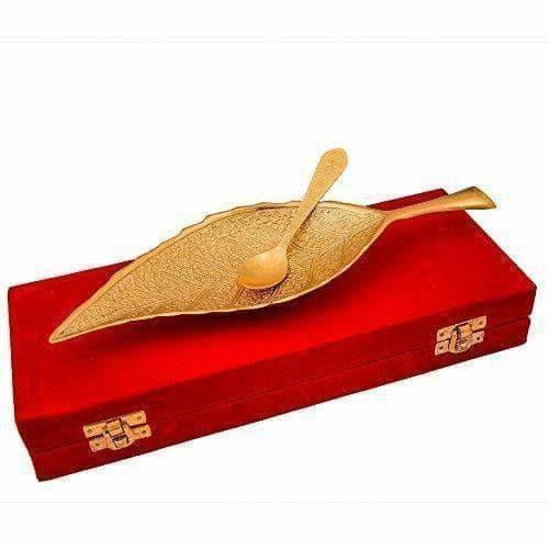 Brass Decorative Gold Plated Leaf Platter with Spoon - Dista Cart