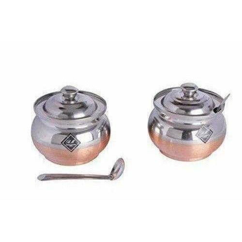 Copper Bottom Ghee and oil Pot Stainless Steel  - pack of 2 - Dista Cart