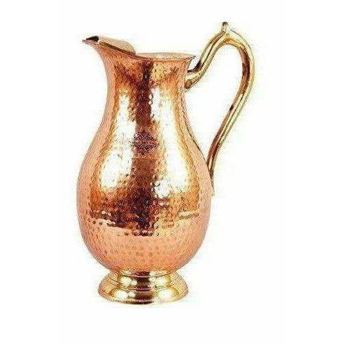 Steel Copper Jug Pitcher with Brass Handle