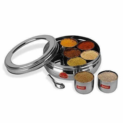 Stainless Steel Belly Shape Spice Box with See Through Lid with 7 Containers and Small Spoon