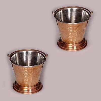 Handmade Hammered Copper Curry Bucket Set of - 2 Pieces