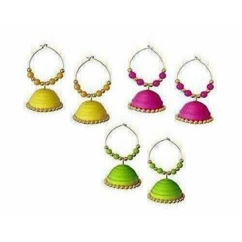 Combo Set - Handmade Paper quilling Yellow - Pink and fluorescent Earrings - Dista Cart