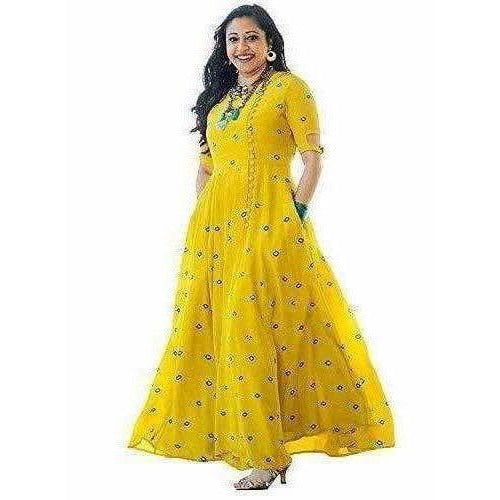 Yellow Color -  Long Embroidered Kurti