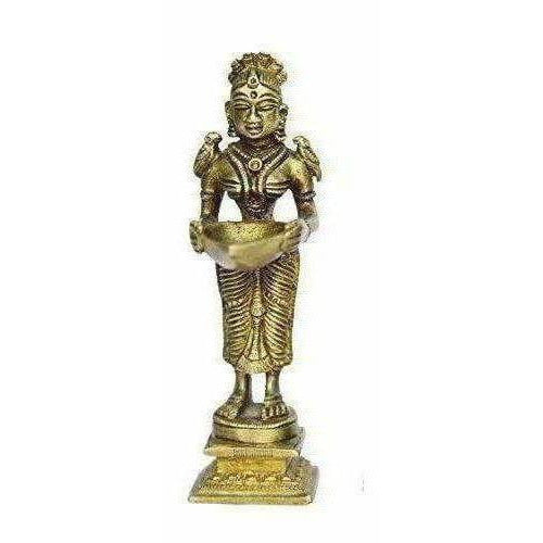 Oil Lamp Deep Lady Brass Collectible Handicraft Small Art