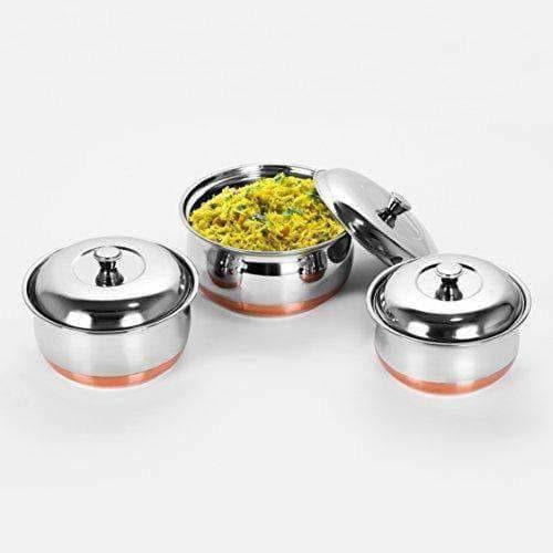Stainless Steel Copper Bottom Multipurpose Cook & Serve Handi With Lid - Set of 3