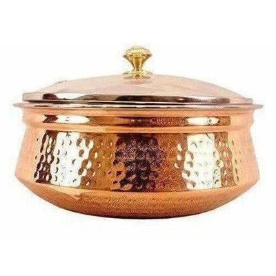 Steel Copper Casserole Bowl With Glass Lid - Tableware