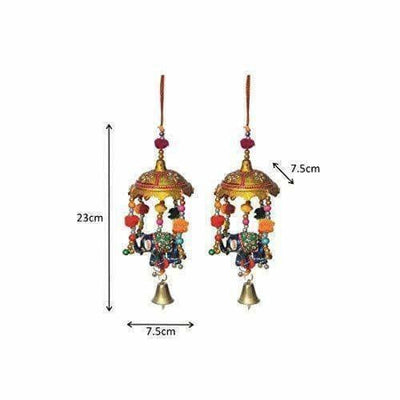 Handicrafts Paradise Umbrella with Elephant Painted and Metal Bell Paper Mache Door Hanging (7.65 cm x 7.65 cm x 22.95 cm, Set of 2)